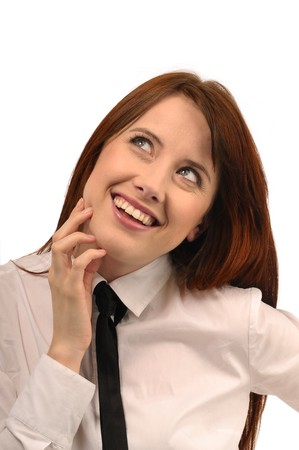 decent: Red-haired woman in a white shirt and tie on a white background