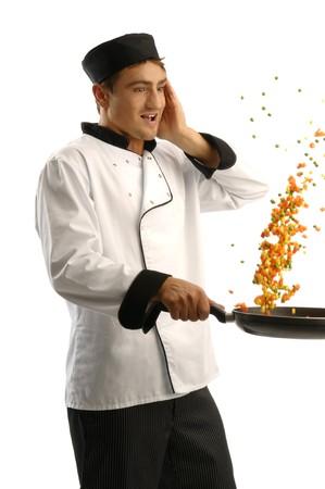 Küchenchefs Kochen veggy Standard-Bild