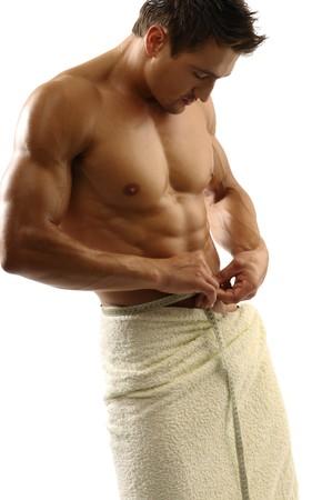 sportman: Young sportman with towel