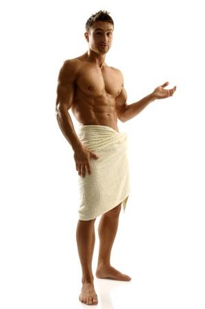 Athletic man posing in towel Stock Photo