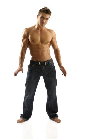 muscle boy: Athletic young man posing  Stock Photo