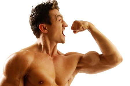 A young man with muscles  photo