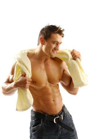 A young man with a towel  photo
