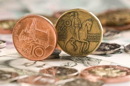 czech republic coin: Detail of Czech Republic currency on desk Stock Photo