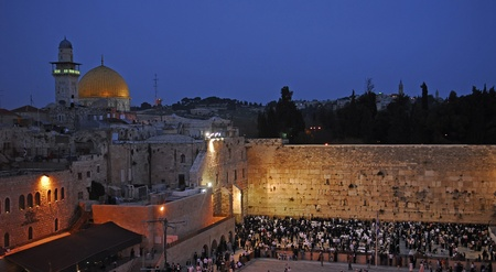 Picture of a Western Wall and the Dome of the rock in Jerusalem photo