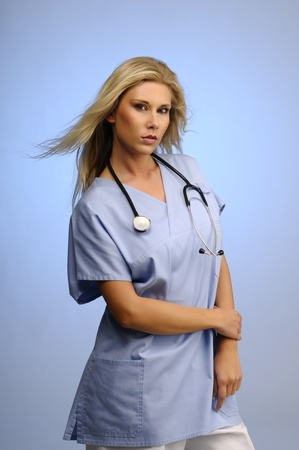 Blond nurse with stethoscope around her neck  photo