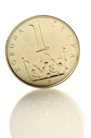 czech republic coin: Czech coin of amount one crown standing on its edge