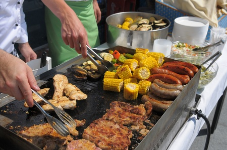 Grilled corn, sausages and meat Stock Photo - 10375779