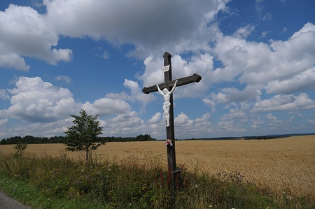 morava: Picture of growing grain and wooden cross