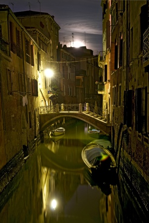 Romantic picture of canal in Venice at night photo