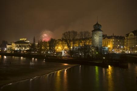 Fireworks at night in Prague photo