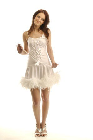 fluffy: Portrait of young girl in a sexy white outfit