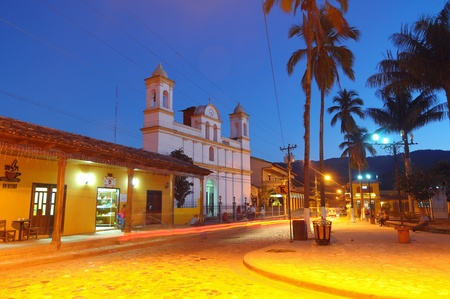 honduras: Picture of city in Copan after the sunset Editorial