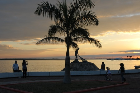 fishman: Picture of a statue of fishman and palm tree after the sunset in Chetumal