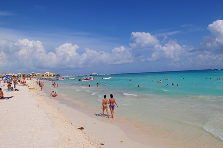 del: Beautiful beach of Playa del Carmen in Mexico
