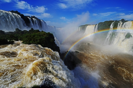 Iguassu Falls, the largest series of waterfalls of the world, located at the Brazilian and Argentinian border,
