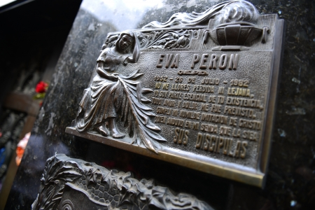 evita: Tomb of first lady Eva Peron in Recoleta Cemetery