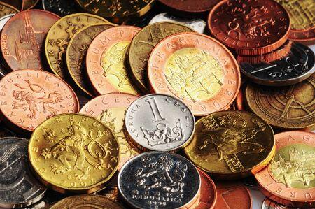 coins of czech currency - Czech Koruna - europe money