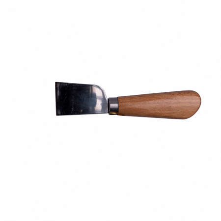 Flat Leather Knife with brown handle isolated on white background. Hand tool for cut out