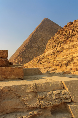 chephren: Pyramids of Cheops and Khafre at Giza in Cairo, Egypt