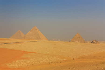 chephren: General view of the Giza Pyramids in Cairo. Egypt.