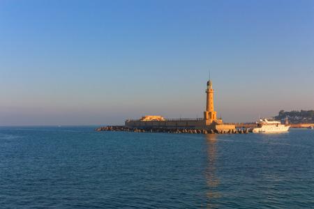 pharos: Lighthouse of Alexandria in the place of legendary pharos. Egypt