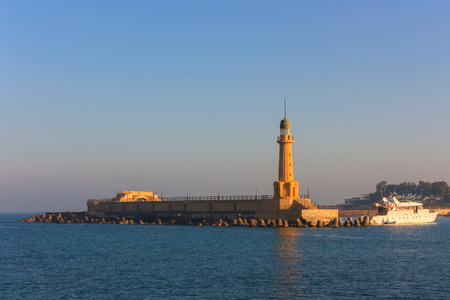 alexandria egypt: Lighthouse of Alexandria in the place of legendary pharos. Egypt