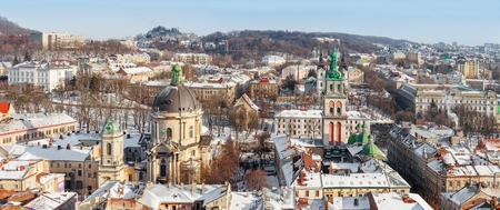 Lviv in winter. Beautiful morning panorama under the snow