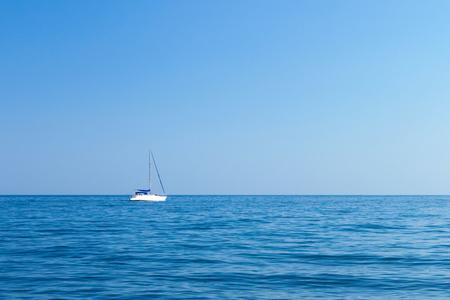 slipway: boat sails on the black sea. Crimea