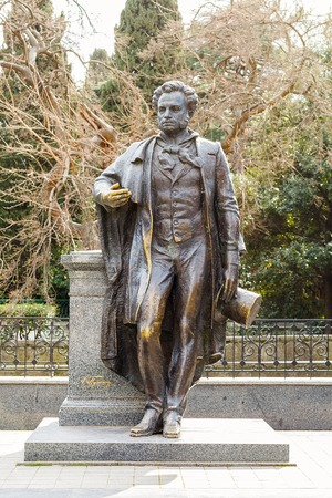 prose: Monument AS Pushkin 1977-1837 at the Pushkin alley in the city of Yalta. Crimea. Ukraine. Russia Stock Photo