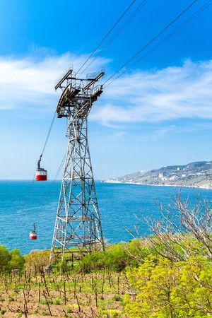 donbass: Cableway in Yalta, which follows from the pension Donbass to the beach. Crimea. Russia.