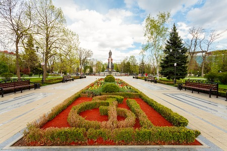 empress: Krasnodar, a monument to the Empress Catherine II in the Cathedral Square. Built in 1907, restored in 2006. Russia Stock Photo