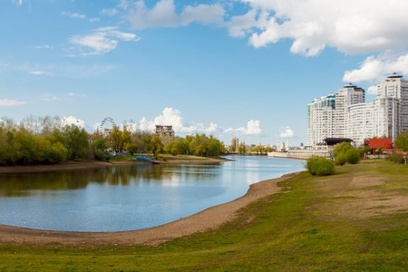 Spring day on river Kuban. A place to relax and picnic in Galway City Park. Krasnodar. Russia photo