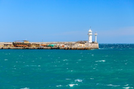 deck cannon: A view of the lighthouse in Yalta. Port. Crimea. Uraine