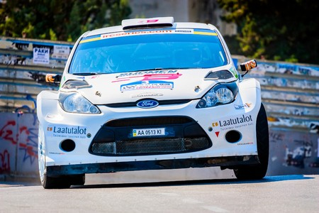 irc: YALTA, UKRAINE - SEPTEMBER 14: Mikko Pajunen drives his Ford Fiesta.2012
