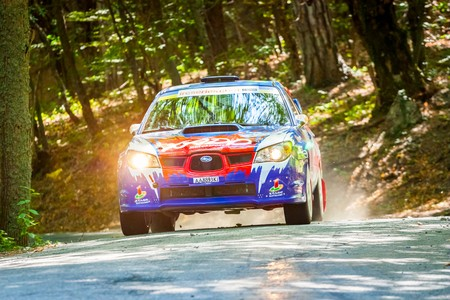 irc: YALTA, UKRAINE - SEPTEMBER 15: Mykola Chmykh drives his Subaru Impreza.2012 Editorial