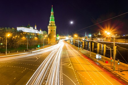 red square moscow: Embankment of the Moskva River near the Kremlin, Red Square. Moscow Stock Photo