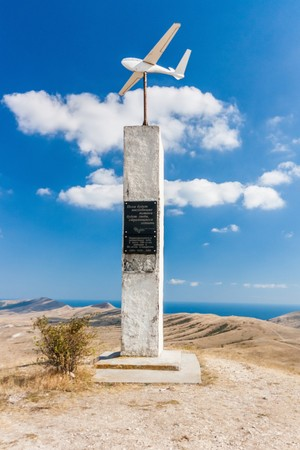 pioneers: The monument to the pioneers of aviation and gliding in Planerskoe. Koktebel. Crimea. Ukraine. Russia Stock Photo
