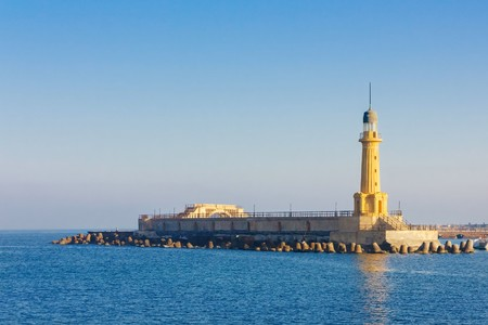alexandria: A view of the lighthouse at Alexandria. Egypt. Stock Photo