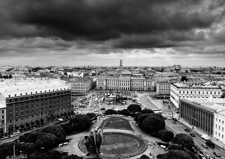 sightseeng: View of Saint Isaacs square and the Monument to Nicholas I in St. Petersburg, Russia. Black and white
