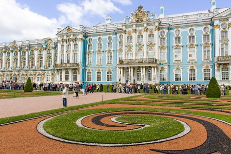 tsarskoye: The Catherine Palace in Tsarskoye Selo, resting place of the great leaders. St. Peterburg, Russia.