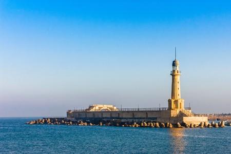 alexandria egypt: A view of the lighthouse at Alexandria. Egypt. Stock Photo