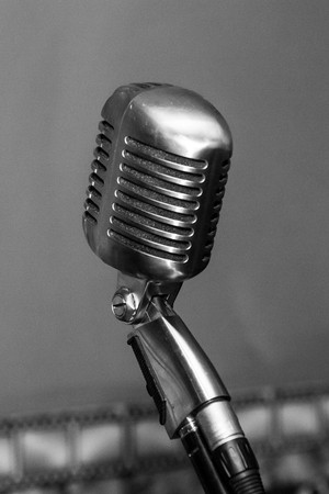 yesteryear: Retro styled microphone black and white. classics of yesteryear