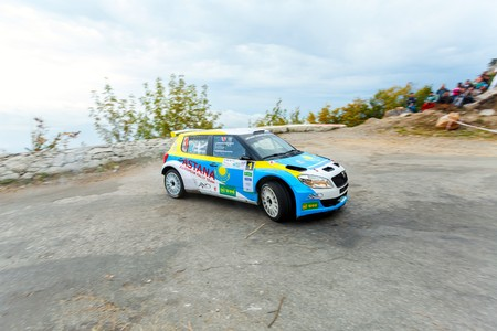 irc: YALTA, UKRAINE - SEPTEMBER 14. Alexander Salyuk drives his Skoda Fabia Super 2000 during the WOG Yalta Rally Fest 2013. 2 day. on September 14, 2013 in Yalta, Ukraine.