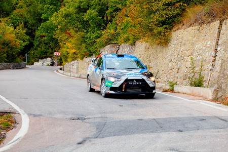 irc: YALTA, UKRAINE - SEPTEMBER 14. Denis Sidorov drives his Mitsubishi Lancer during the WOG Yalta Rally Fest 2013. 2 day. on September 14, 2013 in Yalta, Ukraine. Editorial