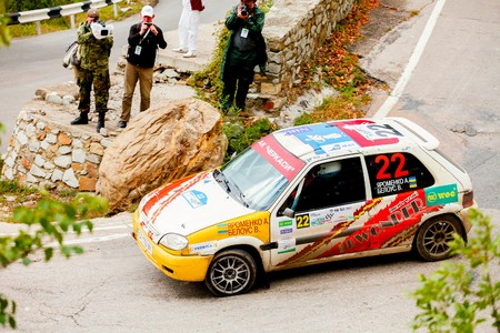irc: YALTA, UKRAINE - SEPTEMBER 14. Andrew Yaromenko drives his Citroen Saxo during the WOG Yalta Rally Fest 2013. 2 day. on September 14, 2013 in Yalta, Ukraine.