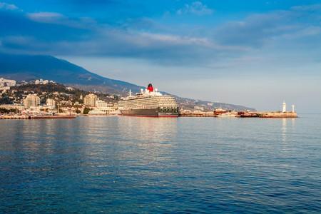 queen victoria: YALTA, UKRAINE - OCTOBER 13. Cunard liner Queen Victoria arrived in the seaport city of Yalta on October 13, 2013 in Yalta, Ukraine.