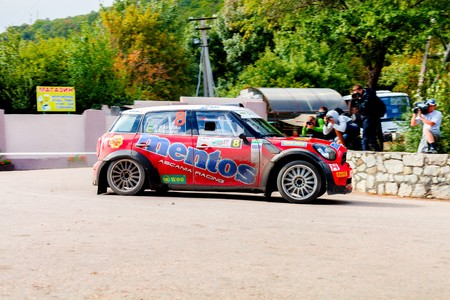 irc: YALTA, UKRAINE - SEPTEMBER 14. Alex Kikireshko drives his Mini JCW during the WOG Yalta Rally Fest 2013. 2 day. on September 14, 2013 in Yalta, Ukraine.