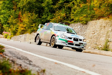 irc: YALTA, UKRAINE - SEPTEMBER 14. Dmitry Rodzivil drives his Subaru Impreza during the WOG Yalta Rally Fest 2013. 2 day. on September 14, 2013 in Yalta, Ukraine. Editorial