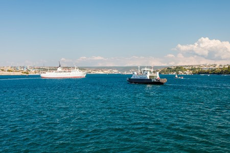 adriana: SEVASTOPOL, UKRAINE - AUGUST 24: Ship Adriana go to the port of Sevastopol, Russia on August 24, 2014. The vessel was for a series of cruises .Six Resort Capitals of Black Sea. during the summer of 2013 Editorial